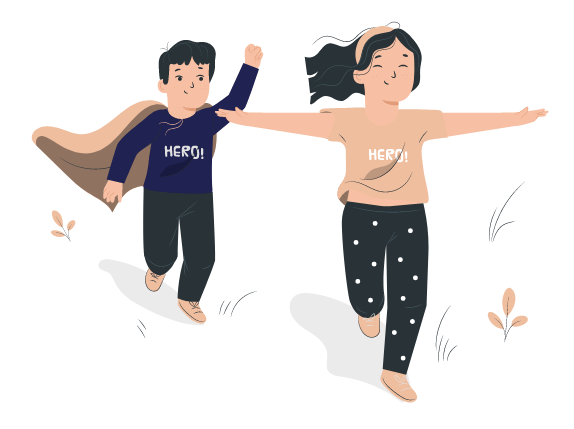 deux enfants dys qui courent