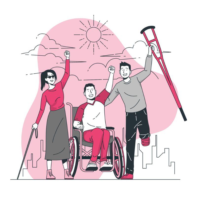 Trois jeunes handicapés