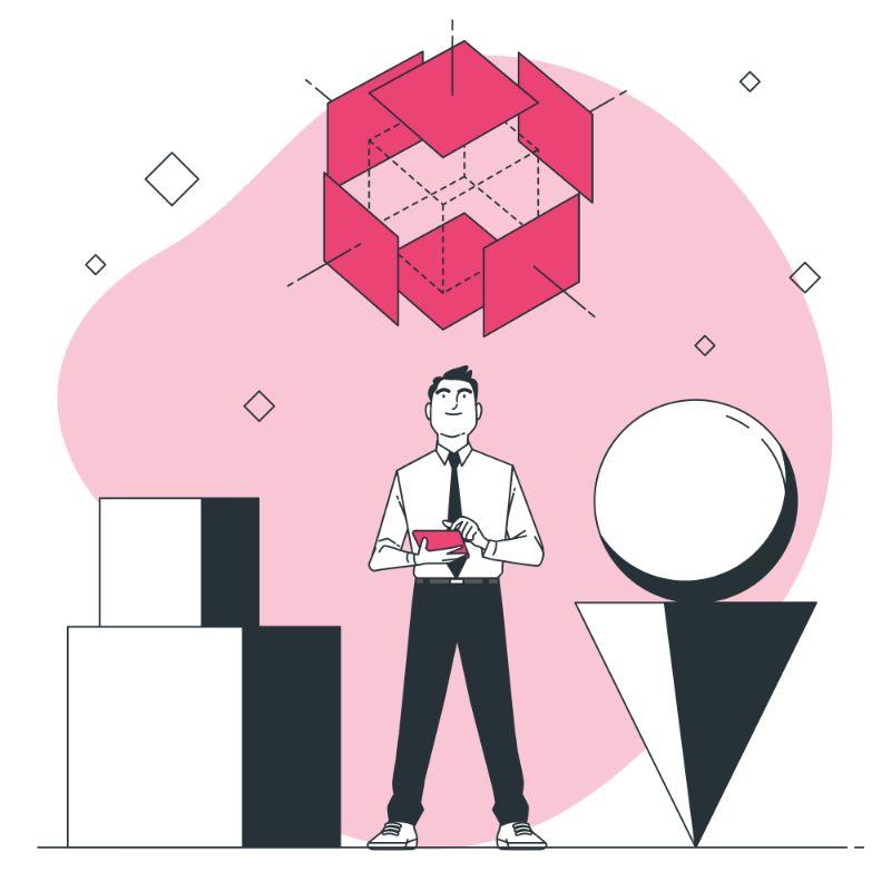 Un homme devant des formes géométriques