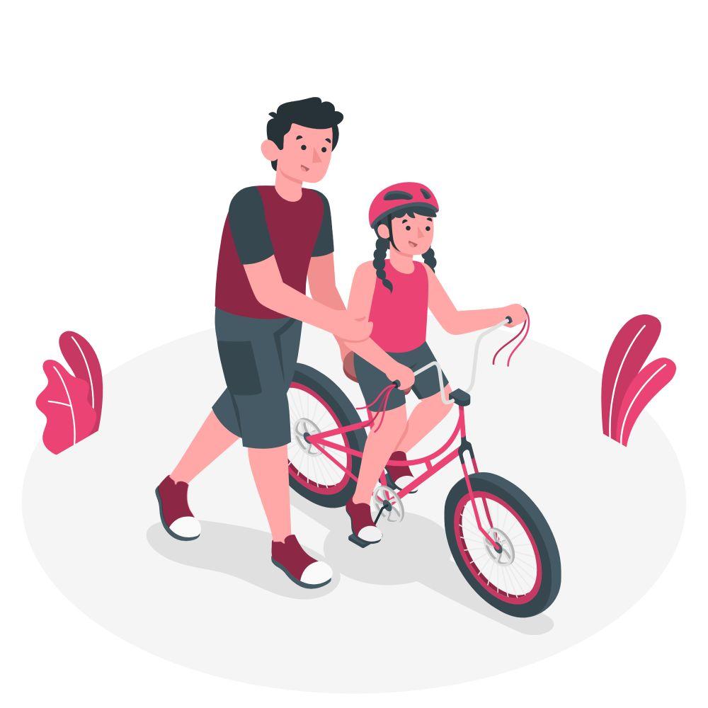 Un père aide sa fille à faire du vélo